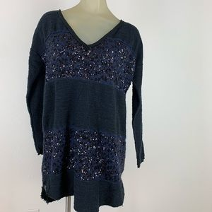 Free people sweater tunic navy black medium